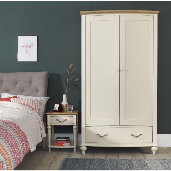 Montreux Oak & Antique White Painted Double Wardrobe - Montreux Furniture