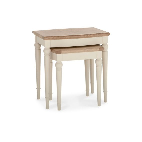 Montreux Oak & Antique White Painted Nest of Tables - Montreux Furniture