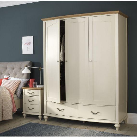 Montreux Oak & Antique White Painted Triple Wardrobe - Montreux Furniture