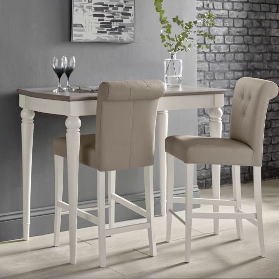 Montreux Soft Grey Painted Bar Stool - Grey Bonded Leather - Montreux Furniture