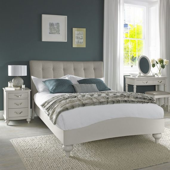 Montreux Soft Grey Painted Upholstered Vertical Stitch Double Bed - Montreux Furniture