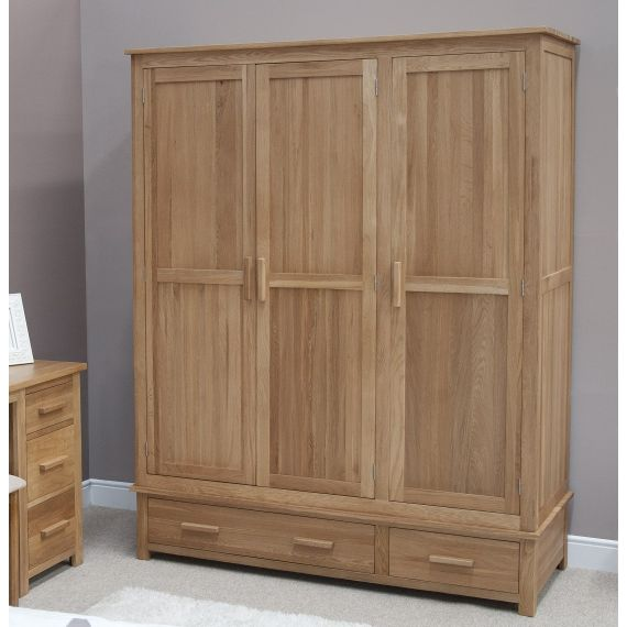 Opus Solid Oak 3 Door Triple Wardrobe