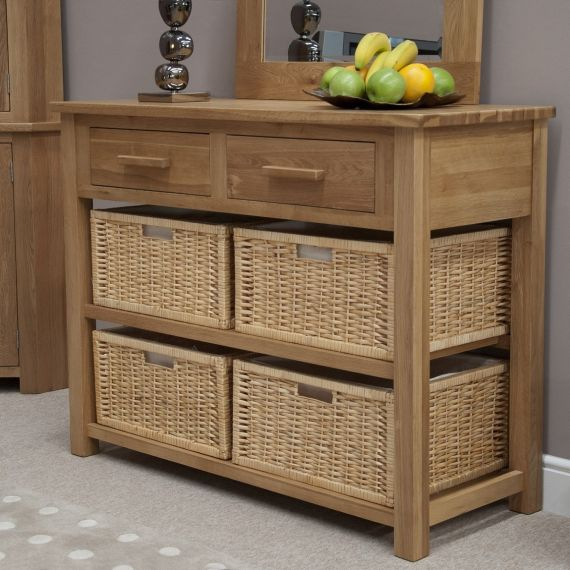 Opus Solid Oak Basket Hall Console Table