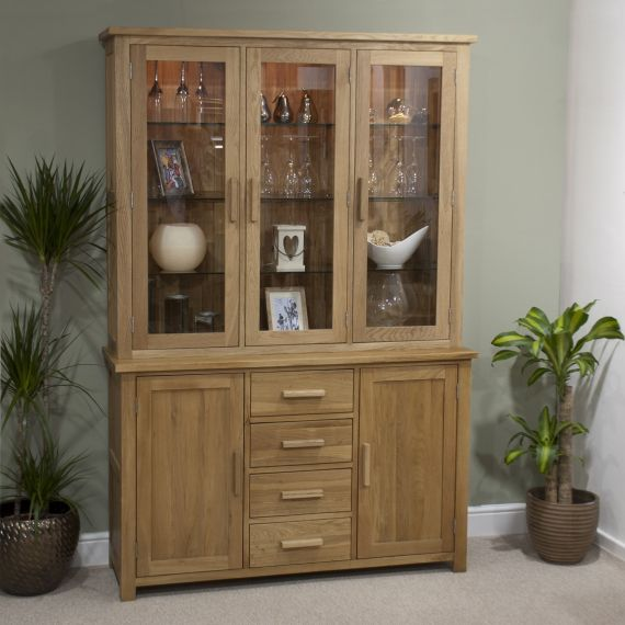 Opus Solid Oak Large Display Unit/ Welsh Dresser