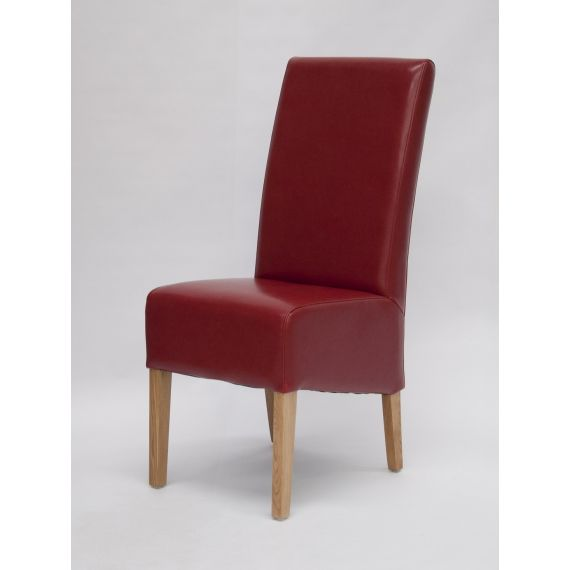Oslo Red Leather Dining Chair with Solid Oak Legs