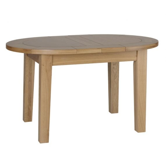 Oxford Contemporary Oak Small D End Extending Dining Table
