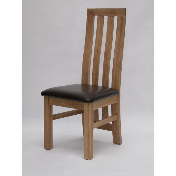 Paris Solid Oak Dining Chair Brown Seat Pad