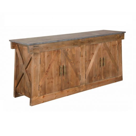 Purbeck Reclaimed Solid Pine Large Sideboard with Stone Top
