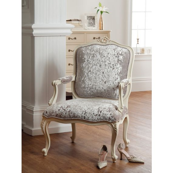 Régency French mid-18th Century Ivory White Arm Chair
