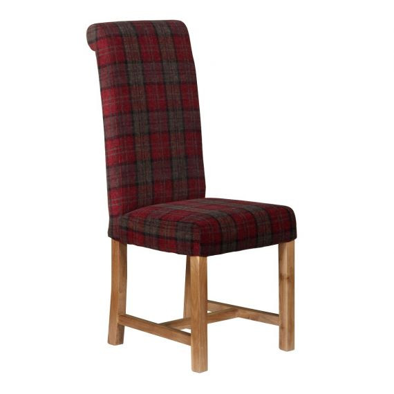 Rollback Dining Chair Orkney Claret Tartan