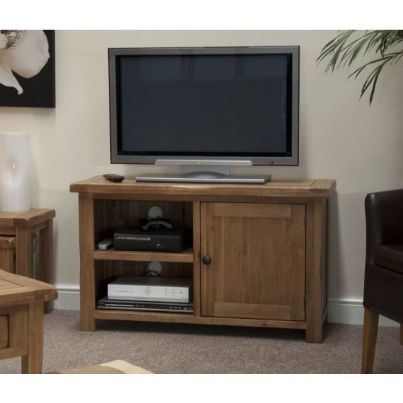 Rustic Solid Oak 1 Door TV Cabinet