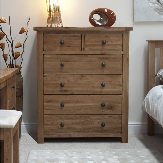 Rustic Solid Oak 6 Drawer Chest
