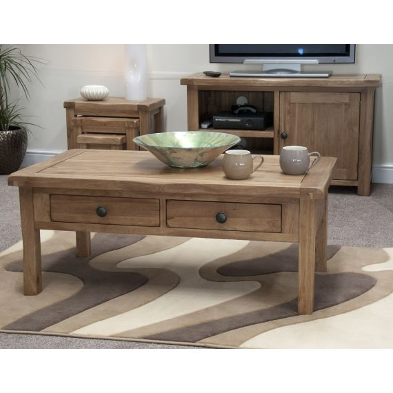 Rustic Solid Oak Coffee Table with Drawers