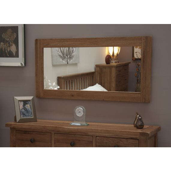 Rustic Solid Oak Large Wall Mirror
