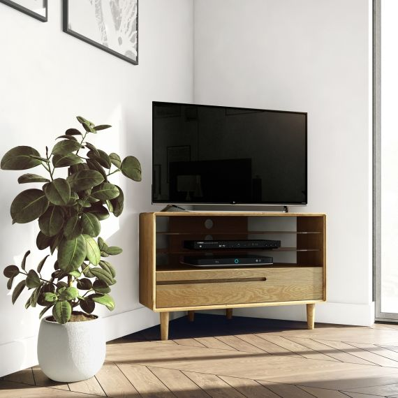 Scandic Oak Corner TV Unit - Retro Style