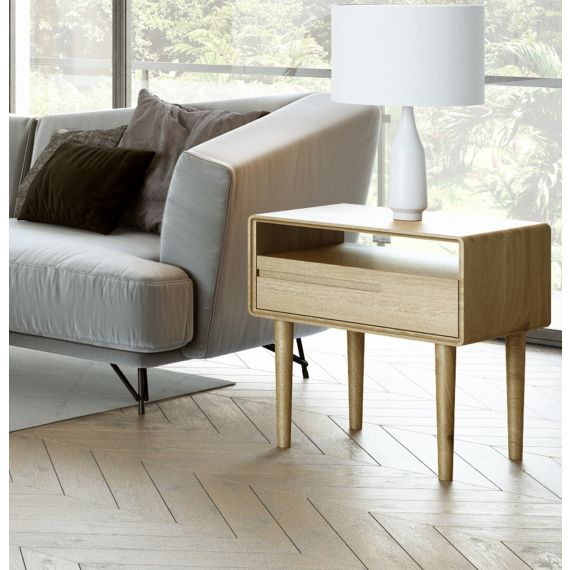 Scandic Oak Lamp Table - Retro Style