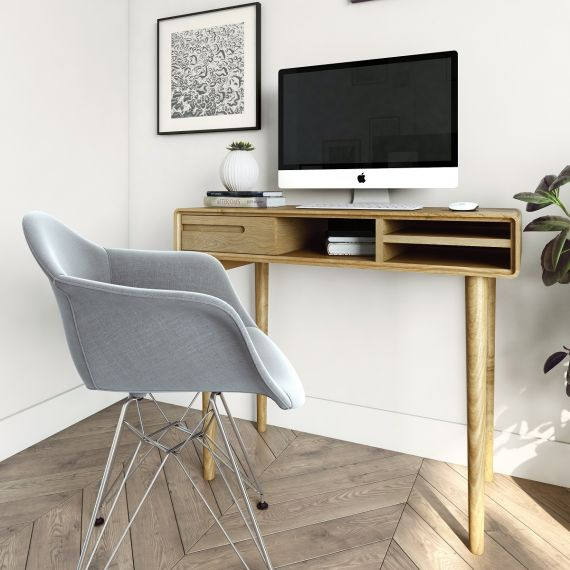 Scandic Oak Small Computer Desk - Retro Style