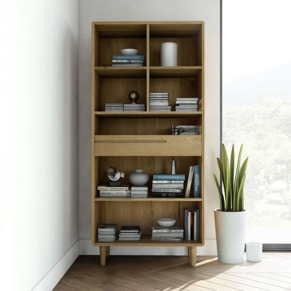 Scandic Oak Tall Bookcase - Retro Style Furniture