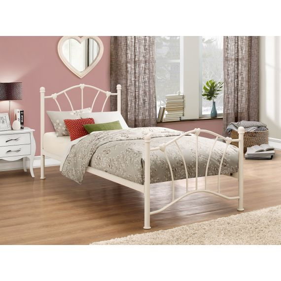 Sophia Single Metal Bed - Cream