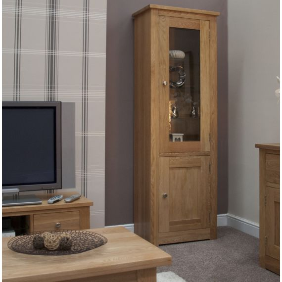 Torino Solid Oak 1 Door Glass Bookcase