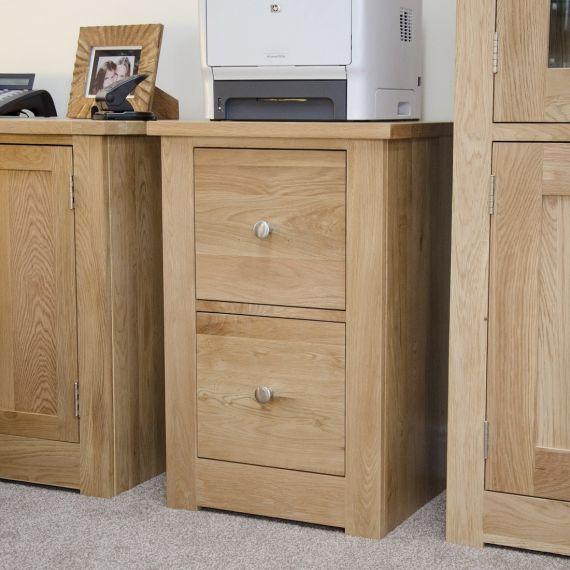 Torino Solid Oak 2 Drawer Filing Cabinet