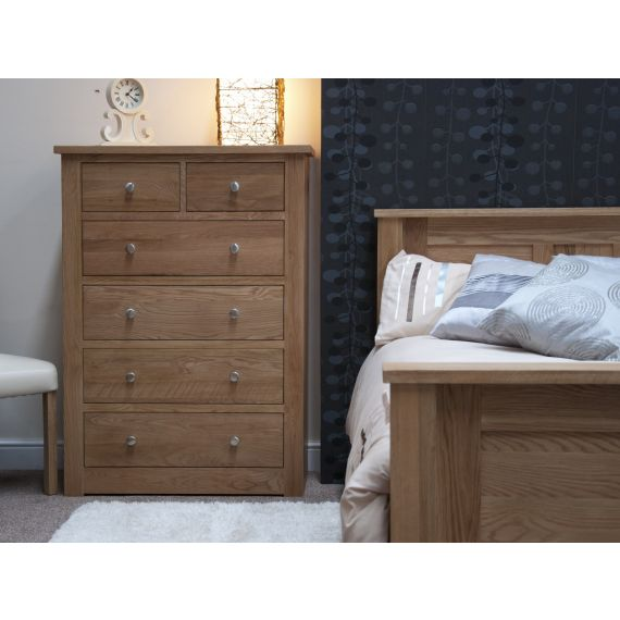 Torino Solid Oak 6 Drawer Chest