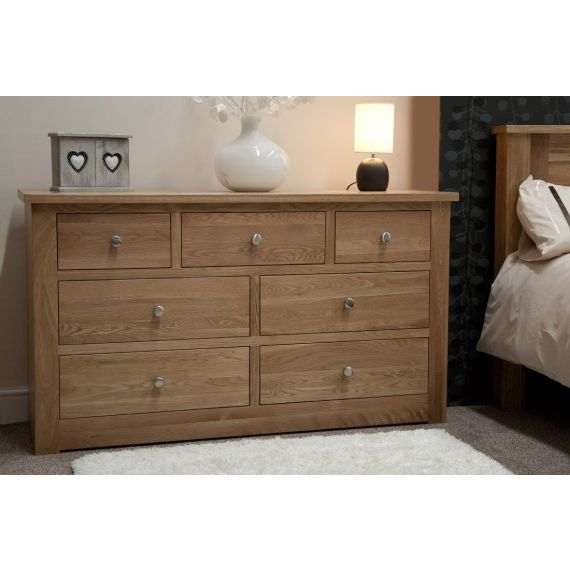 Torino Solid Oak 7 Drawer Chest