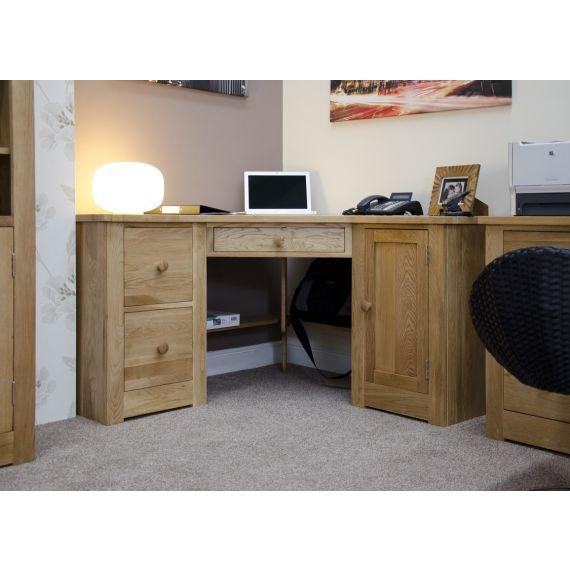 Torino Solid Oak Double Pedestal Corner Computer Desk