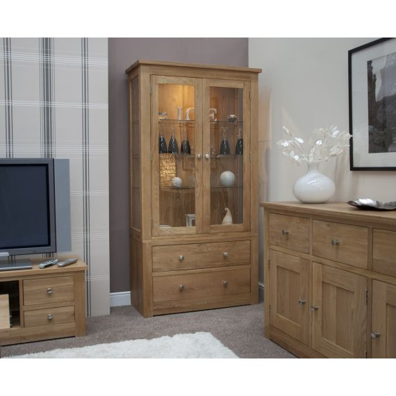 Torino Solid Oak Glass Display Cabinet