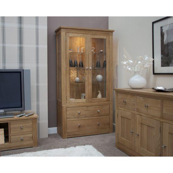 Torino Solid Oak Glass Display Cabinet