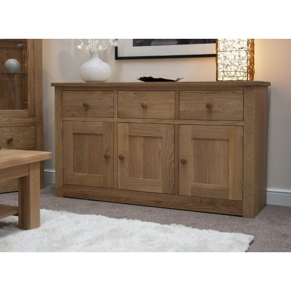 Torino Solid Oak Large 3 Door Sideboard