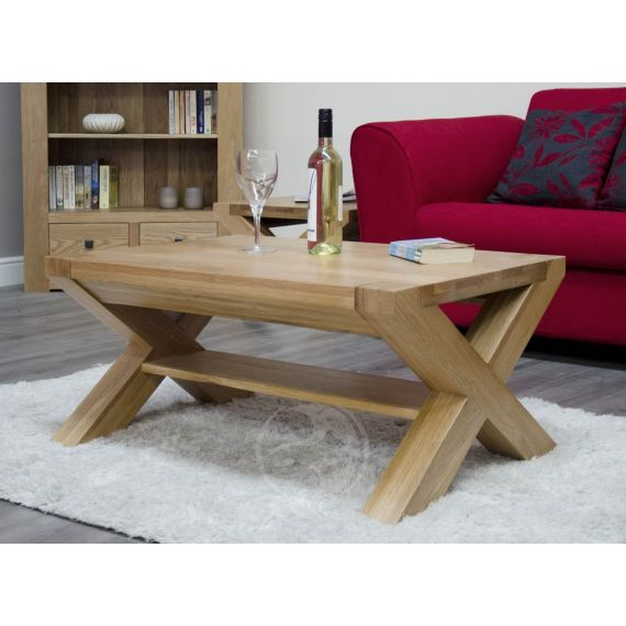Trend Solid Oak 3x2 X Leg Coffee Table