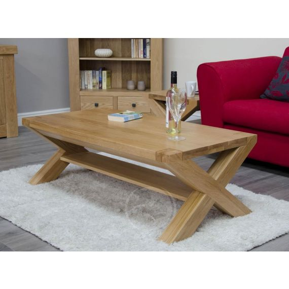Trend Solid Oak 4x2 X Leg Coffee Table