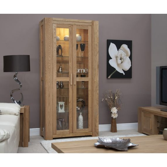Trend Solid Oak Glass Display Cabinet