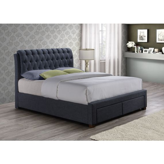 Valentino Charcoal Fabric Bed with 2 Drawers
