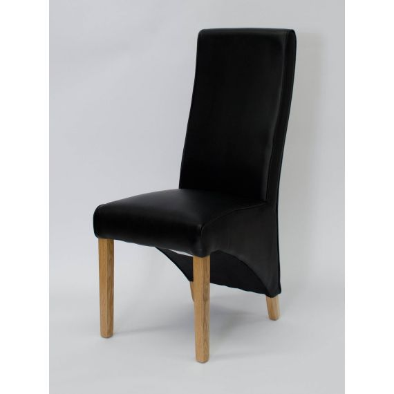 Wave Black Leather Dining Chair