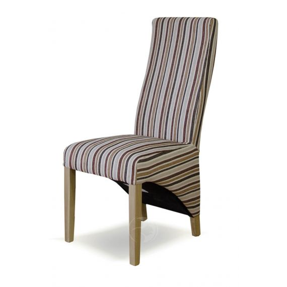 Wave Royal Striped Fabric Dining Chair