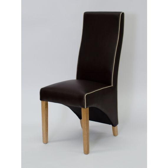 Wave Suzuka Brown Leather Dining Chair