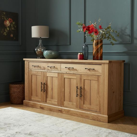 Westbury Rustic Oak 4 Door Large Sideboard - Westbury Furniture