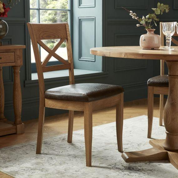 Westbury Rustic Oak Cross Back Dining Chair - Espresso Brown Leather (Pair)