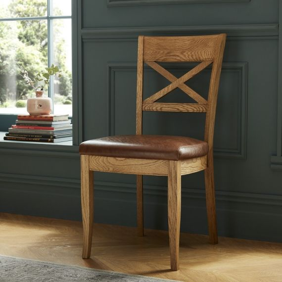 Westbury Rustic Oak Cross Back Dining Chair - Tan Leather (Pair) - Westbury Furniture