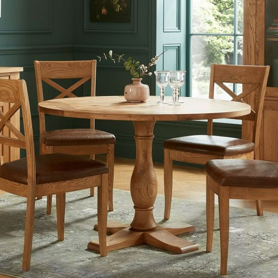 Westbury Rustic Oak Round Dining Table - Westbury Furniture
