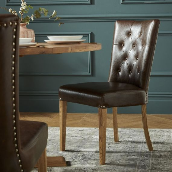 Westbury Rustic Oak Upholstered Dining Chair - Espresso Brown Leather (Pair) - Westbury Furniture