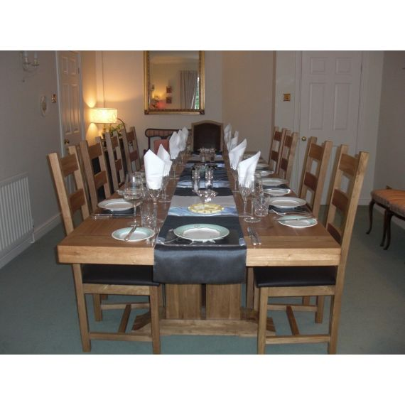 Windermere Solid Oak Extending Monastery Dining Table