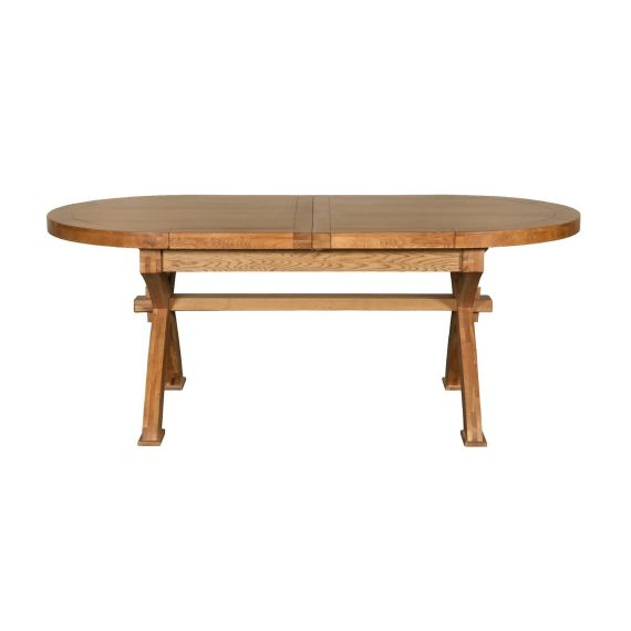 Windermere Solid Oak Oval Extending X Leg Dining Table