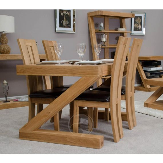 Z Shape Solid Oak 4x3 Dining Table