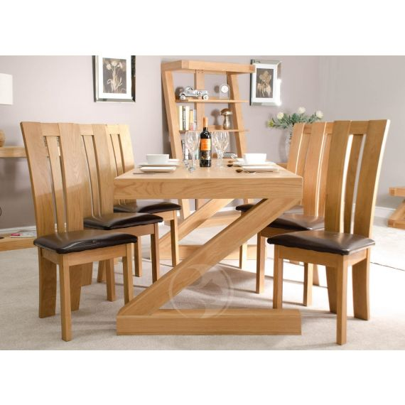 Z Shape Solid Oak 6x3 Dining Table