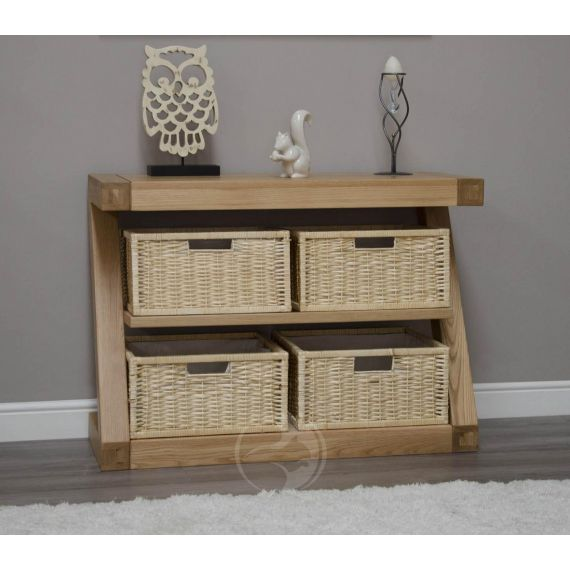 Z Shape Solid Oak Basket Hall/ Console Table