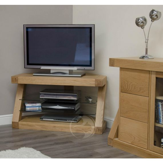 Z Shape Solid Oak Corner TV Unit