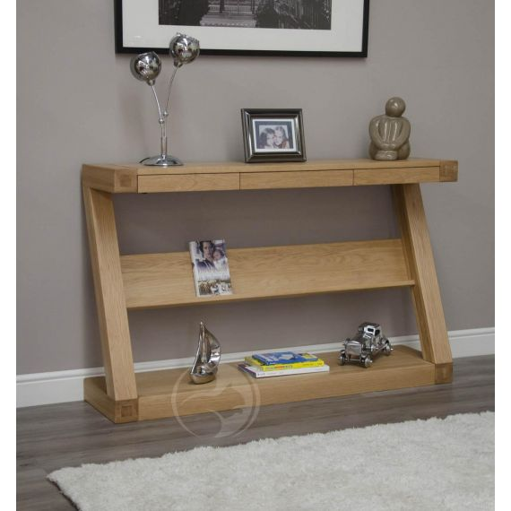 Z Shape Solid Oak Hall/ Console Table with Shelf